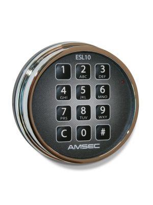 AMSEC ESL10XL-STD Electronic Safe Lock shown in chrome