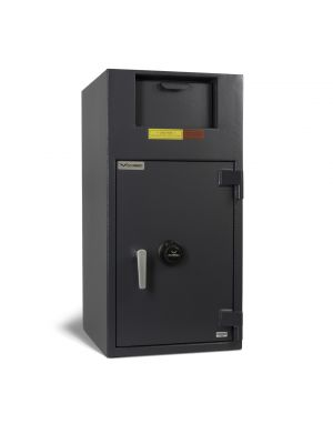AMSEC BWB3020FL Front Loading Depository Safe shown with UL Listed Group II key-changeable combination lock