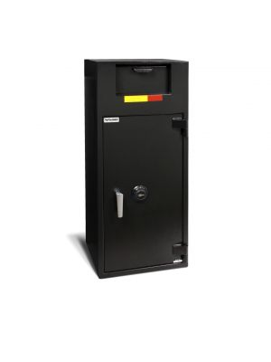 AMSEC BWB4020FL Front Loading Depository Safe shown with UL listed Group II key-changeable combination lock