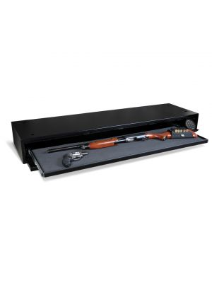AMSEC DV652 Under Bed Defense Vault features a slim, foam-padded slide-out gun tray