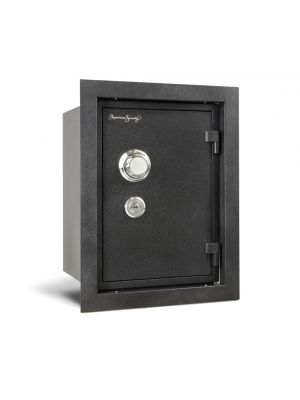 AMSEC WFS149 Fire Wall Safe is equipped with a Group II Combination lock with a knob-operated locking mechanism