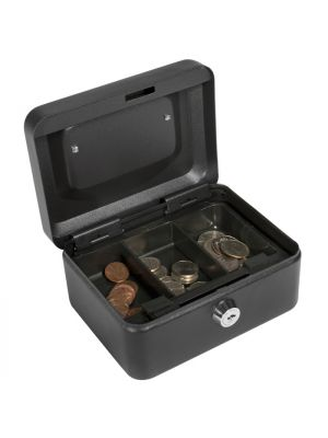 Barska CB11828 Extra Small Key Locking Cash Box with removable 3 compartment tray