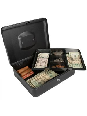Barska CB11834 Large Key Locking Cash Box with 2 layers of cash storage