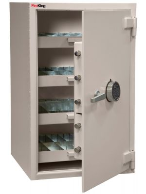 FireKing B3521WD-FK1 Pharmacy Safe, angle open with roll-out drawers