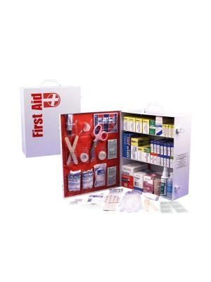 Guardian 3 Shelf First Aid Cabinet includes 1044 peices neatly packed into a durable metal case
