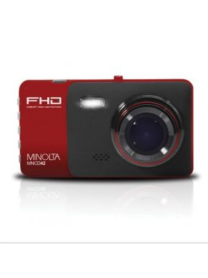 Minolta MNCD42 1080p Full HD Dash Camera front view in red