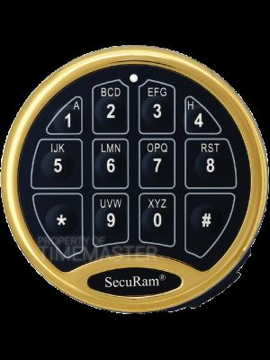 SecuRam Safelogic Biometric Basic Battery Compartment Keypad, Brass