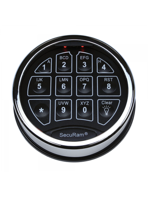 SecuRam SafeLogic Biometric Safe Lock Top-Lit Keypad, Chrome