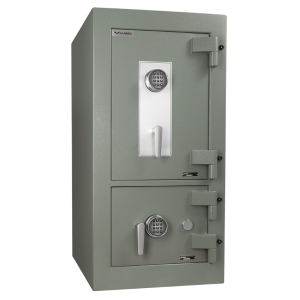 AMSEC ACF4824DS TL-30 Fire Rated Depository Safe front angle shown with dual electronic locks