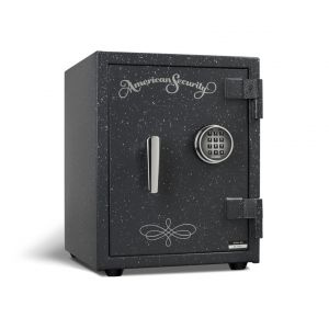 AMSEC UL1511 U.L. Listed Fire Safe shown in textured granite with chrome trim