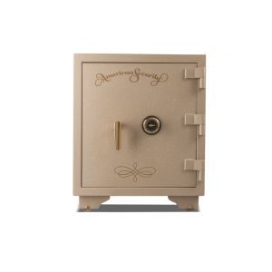 AMSEC UL2018 U.L. Listed Fire Safe is shown with an attractive Sandstone finish with brass trim