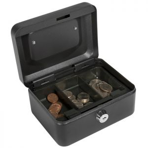 Barska CB11828 Extra Small Key Locking Cash Box with removable 3 compartment tray