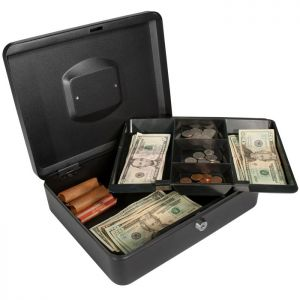 Barska CB11834 Large Key Locking Cash Box with 2 layers of cash storage