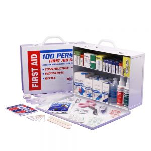 Guardian 2 Shelf First Aid Cabinet contains 656 pieces packaged neatly in a durable metal case
