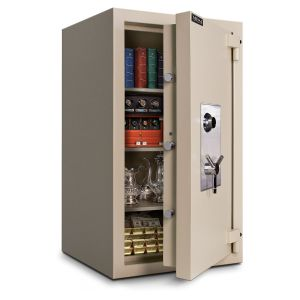 Mesa Safe MTLE4524 TL-15 Safe door is constructed with a defense barrier of outer and inner plates enclosing fire and burglary resistant material