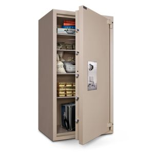 Mesa Safe MTLF7236 TL-30 Safe door is constructed with a defense barrier of inner and outer plates enclosing fire and burglary resistant materials