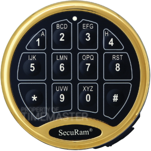 SecuRam Safelogic Biometric Basic Battery Compartment Keypad, Brass