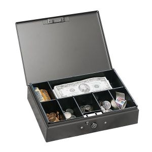 STEELMASTER 7-Compartment Low Profile Steel Cash Box